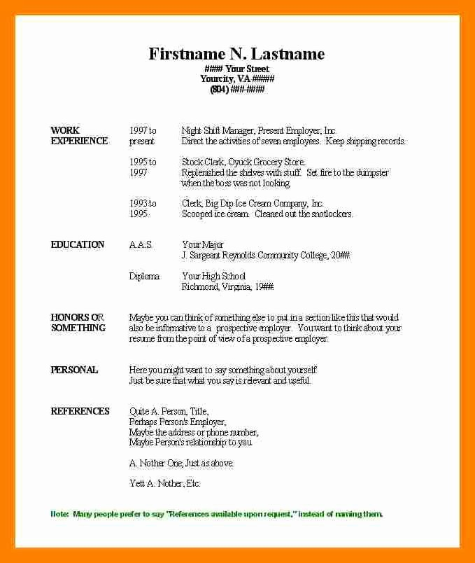 Teacher Resume Template Word Free New Resume Sample Microsoft Word