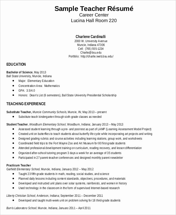 Teacher Resume Template Word Free Unique Teacher Resume Sample 32 Free Word Pdf Documents