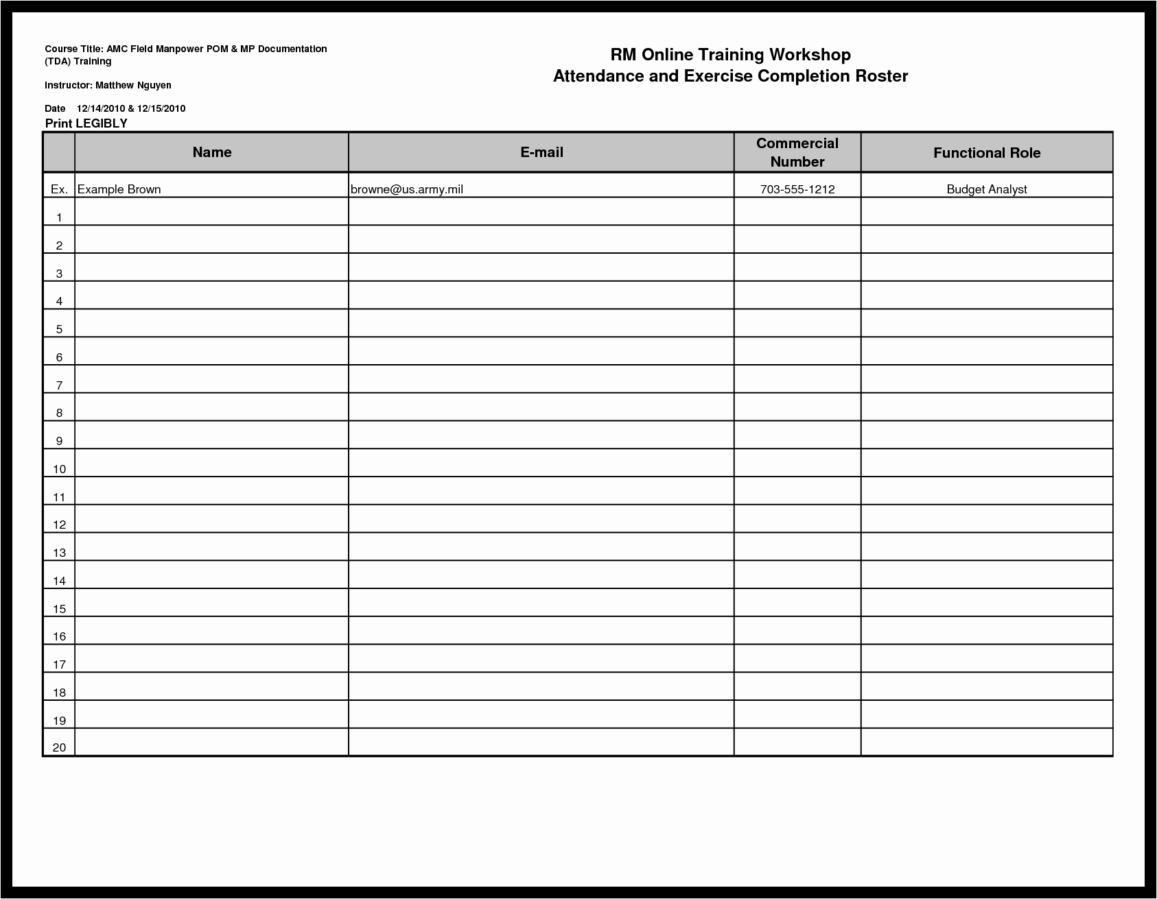 Teacher Sign In Sheet Template Awesome 9 Best attendance Roster form Free Printable
