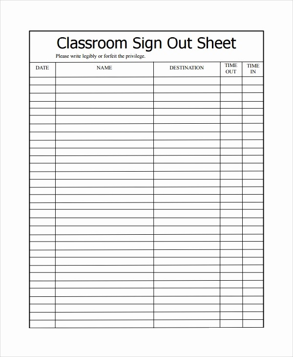 Teacher Sign In Sheet Template Awesome 9 Classroom Sign Out Sheets