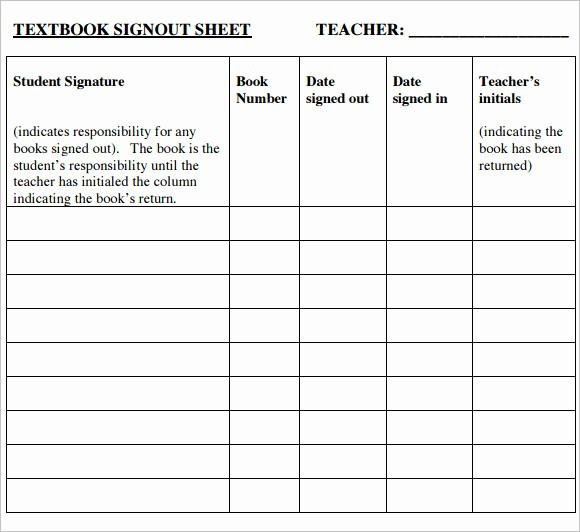 Teacher Sign In Sheet Template Fresh Sign Out Sheet Template – 9 Free Samples Examples format