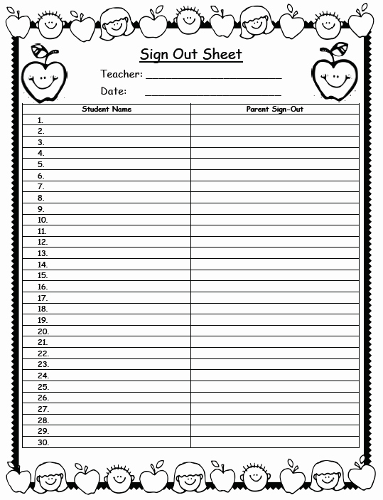 Teacher Sign In Sheet Template Inspirational Mrs solis S Teaching Treasures Sign Out Sheet Freebie