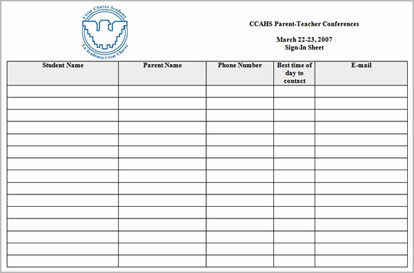 post conference sign in sheet template