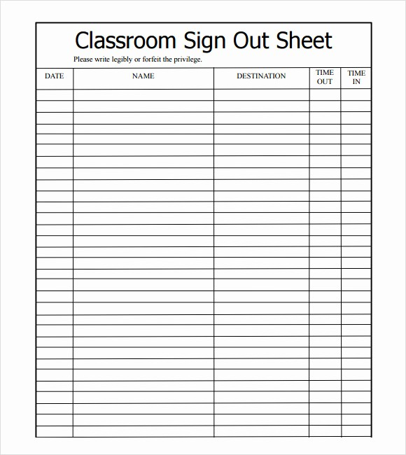 Teacher Sign In Sheet Template Luxury Sample Sign Out Sheet Template 8 Free Documents