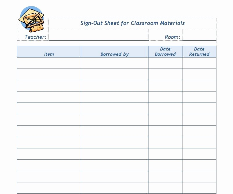 Teacher Sign In Sheet Template Unique Classroom Sign Out Sheet Template