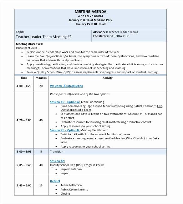Teacher Team Meeting Agenda Template Awesome 50 Meeting Agenda Templates Pdf Doc