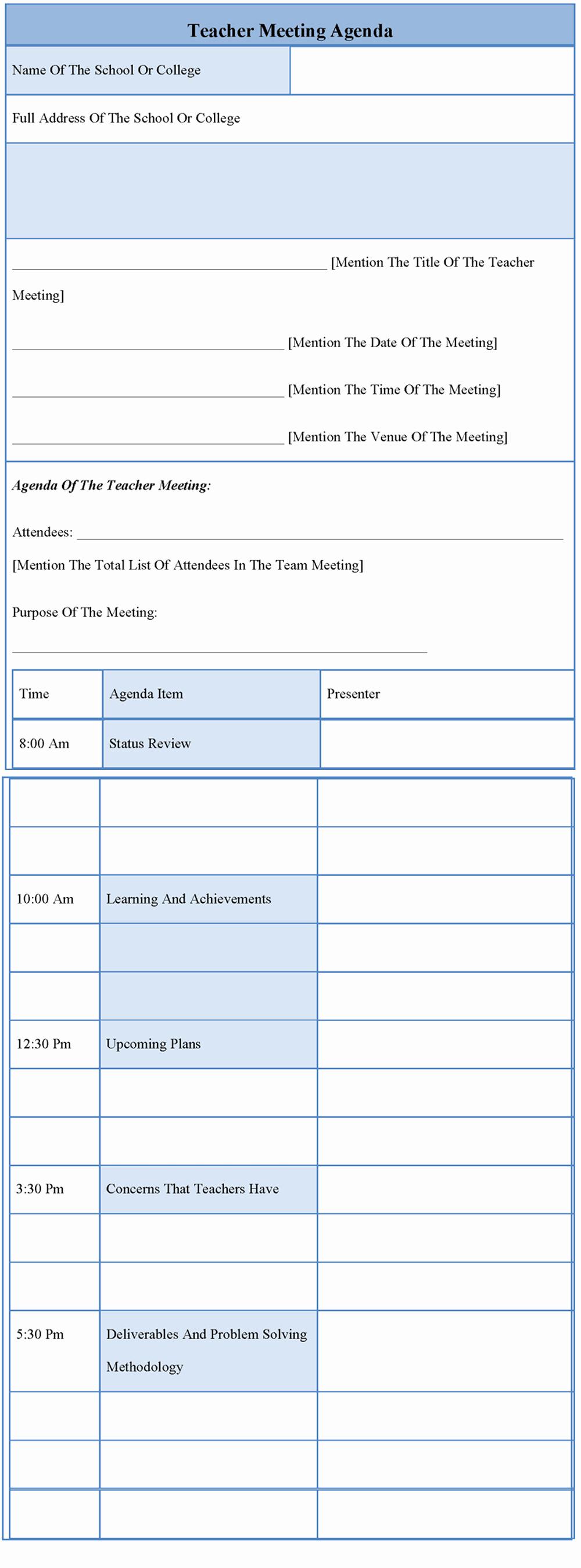 Teacher Team Meeting Agenda Template Lovely Download Teacher Meeting Notes Template Blogshan