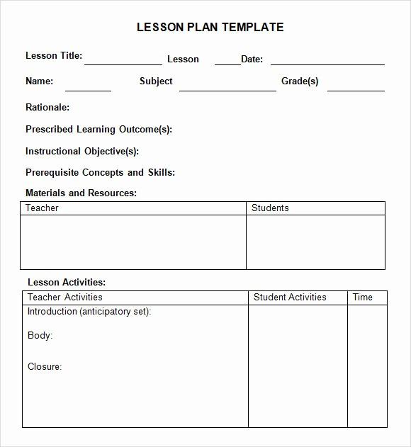 Teacher Weekly Lesson Plan Template Elegant 8 Weekly Lesson Plan Samples