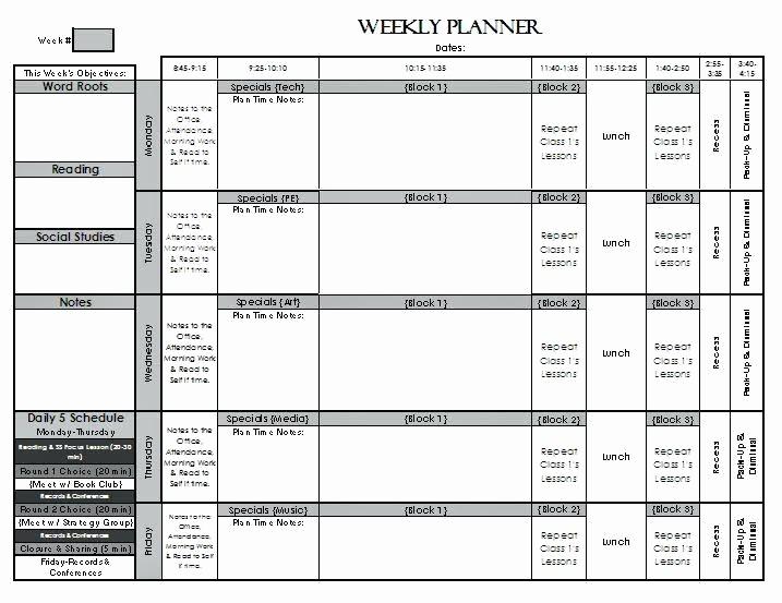 Teacher Weekly Lesson Plan Template Inspirational Spotlight Lesson Plan Template Weekly format Elementary