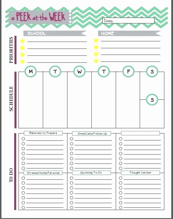 Teacher Weekly Planner Template Download Inspirational Printable Weekly Teacher Planner Planning Template for