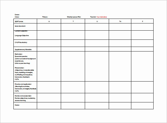 Teacher Weekly Planner Template Download Luxury Teacher Lesson Plan Template 8 Free Sample Example