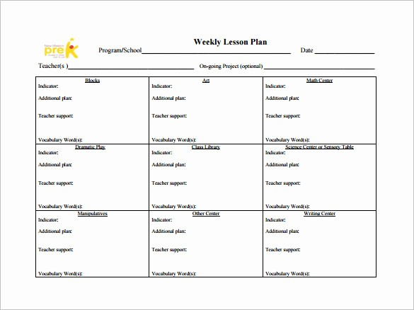 Teacher Weekly Planner Template Download Unique Weekly Lesson Plan Template 9 Free Sample Example