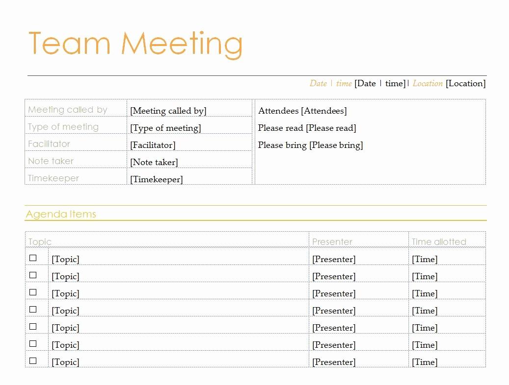 Team Meeting Agenda Template Word Elegant Team Meeting Agenda