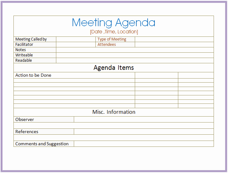 Team Meeting Agenda Template Word New Basic Meeting Agenda Template formal & Informal Meetings