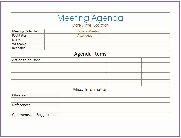 Team Meeting Agenda Template Word New Basic Meeting Agenda Template formal & Informal Meetings