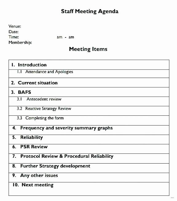 Team Meeting Agenda Template Word New Team Meeting Agenda Template Word Doc Weekly Staff Sample