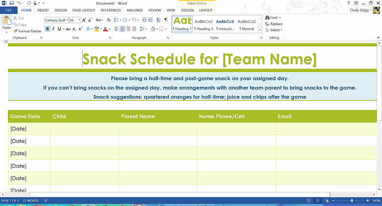 Team Snack Sign Up Sheet Awesome organization Boost Templates and Printables for Families