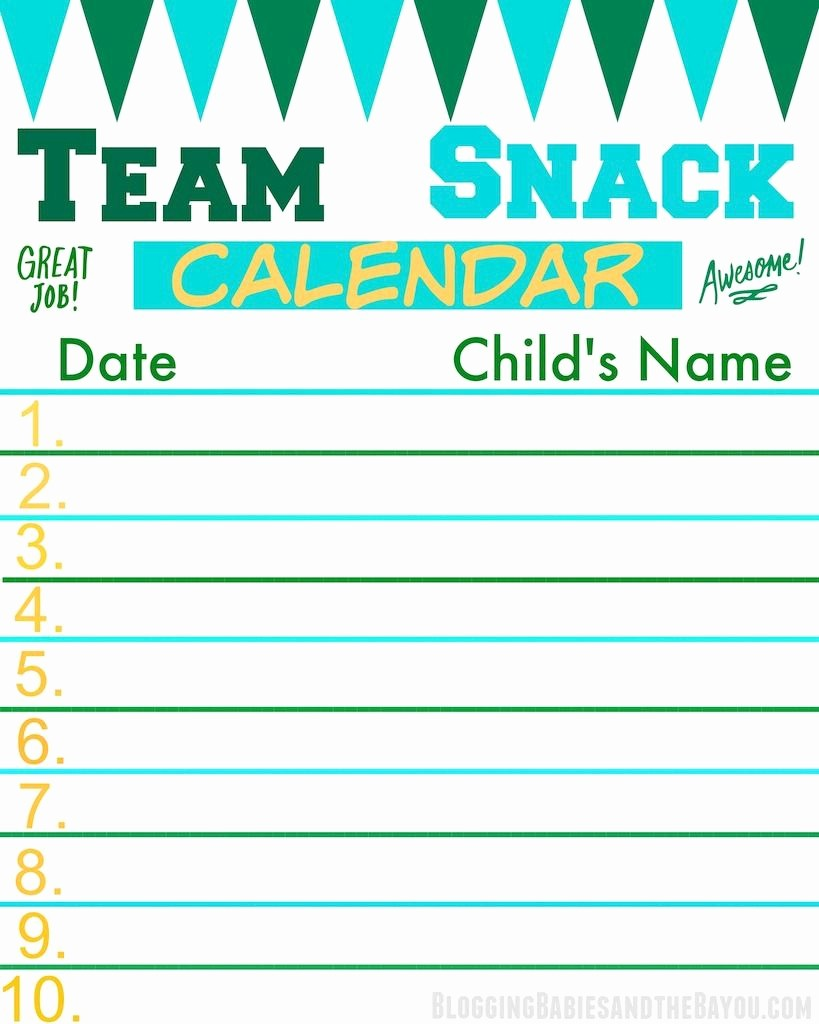 Team Snack Sign Up Sheet Awesome Team Snack Calendar Perfect for the Team Mom or Sports