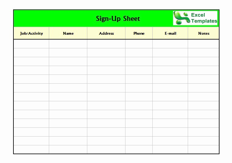 Team Snack Sign Up Sheet Fresh 40 Sign Up Sheet Sign In Sheet Templates Word & Excel
