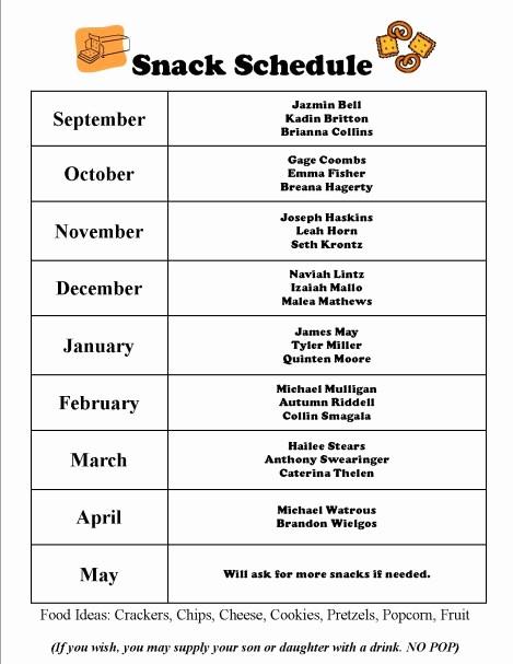 Team Snack Sign Up Sheet Fresh Team Snack Schedule Evolist