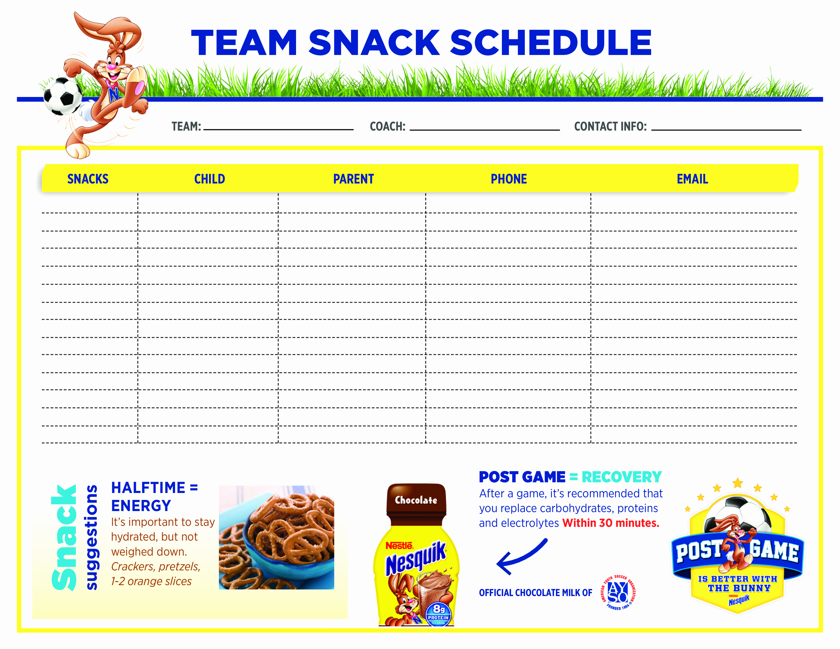 Team Snack Sign Up Sheet Lovely Free Team Snack Schedule