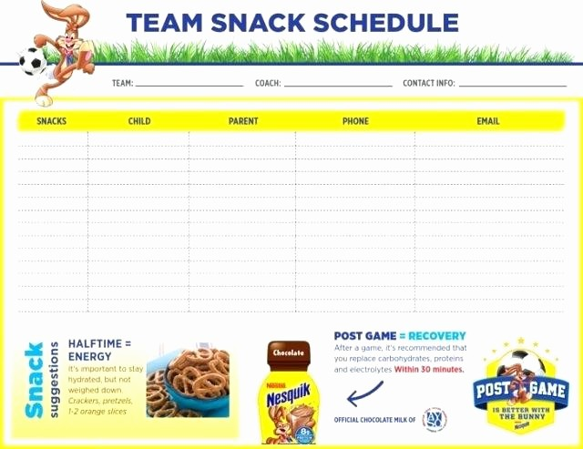 Team Snack Sign Up Sheet Lovely soccer Snack Schedule Template Systematic for Visualize