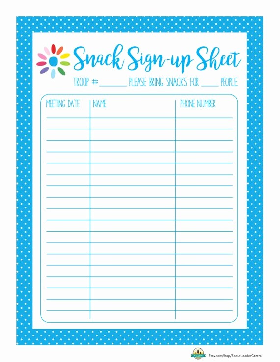 """Team Snack Sign Up Sheet Unique Search Results for """"sports Sign Up Sheet Template"""