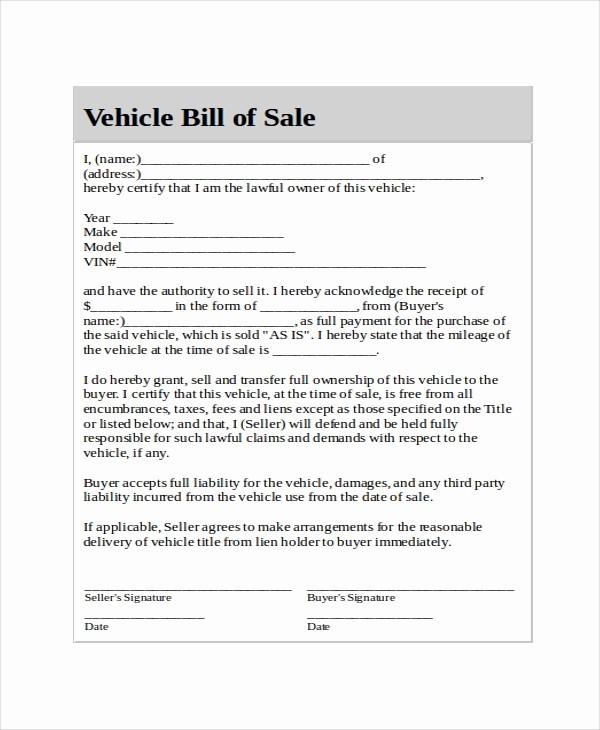 Template Bill Of Sale Car Fresh Generic Bill Of Sale Template 12 Free Word Pdf