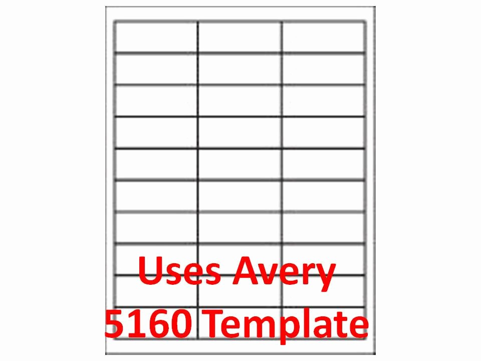 """Template for 5160 Avery Labels Fresh 3000 Laser Ink Jet Labels 1"""" X 2 5 8"""" 30up Address"""