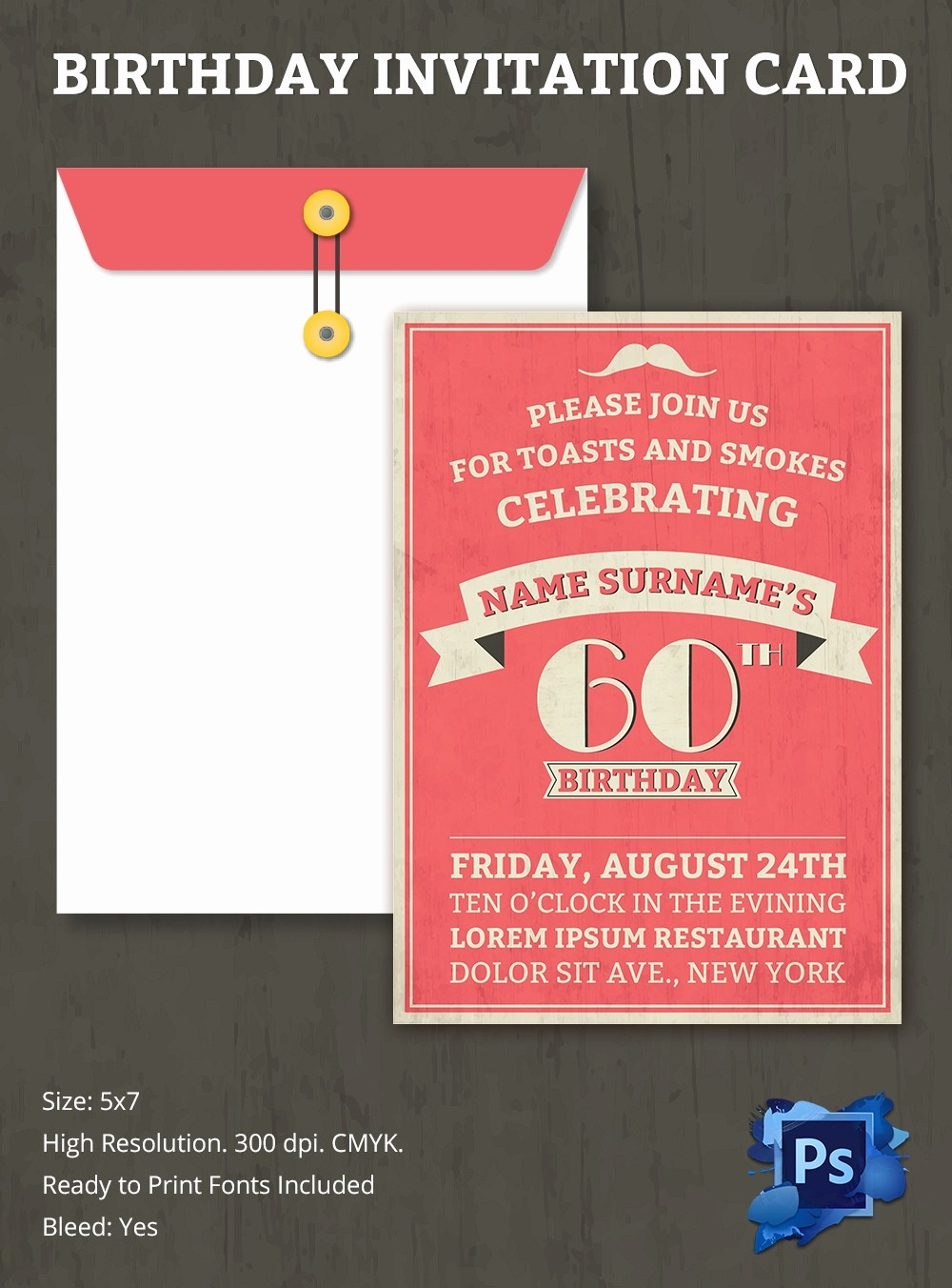 Template for A Birthday Card Awesome Birthday Invitation Template – 70 Free Psd format