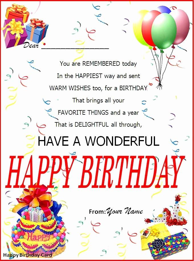 Template for A Birthday Card Lovely Birthday Card Word Template My Birthday