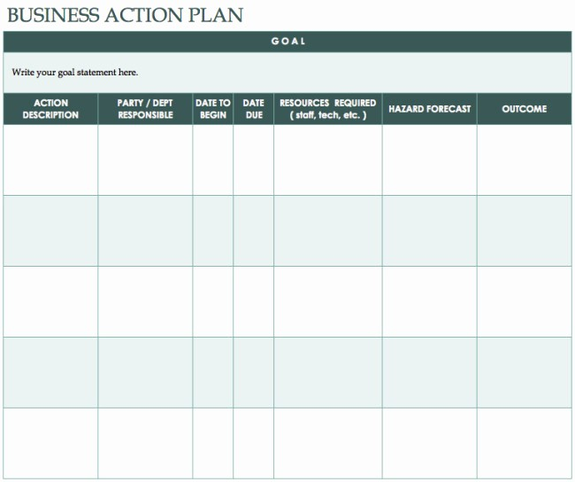 Template for A Business Plan Fresh 41 Best Templates Of Business Action Plan Thogati