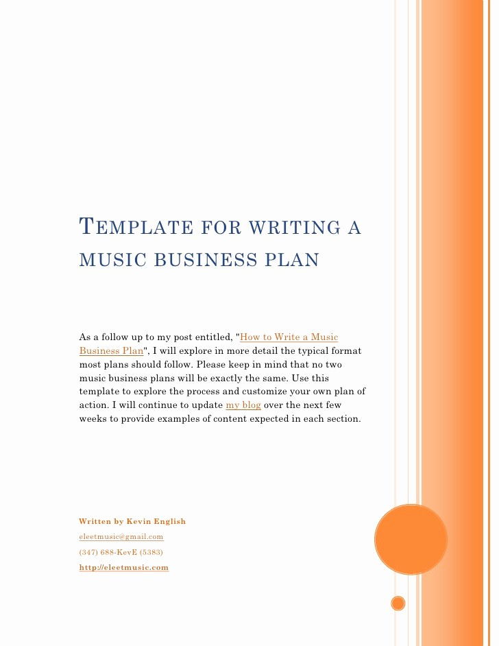 Template for A Business Plan Inspirational Template for Writing A Music Business Plan
