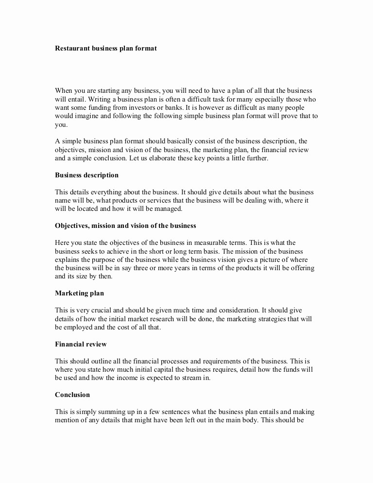 Template for A Business Plan New Restaurant Business Plan format