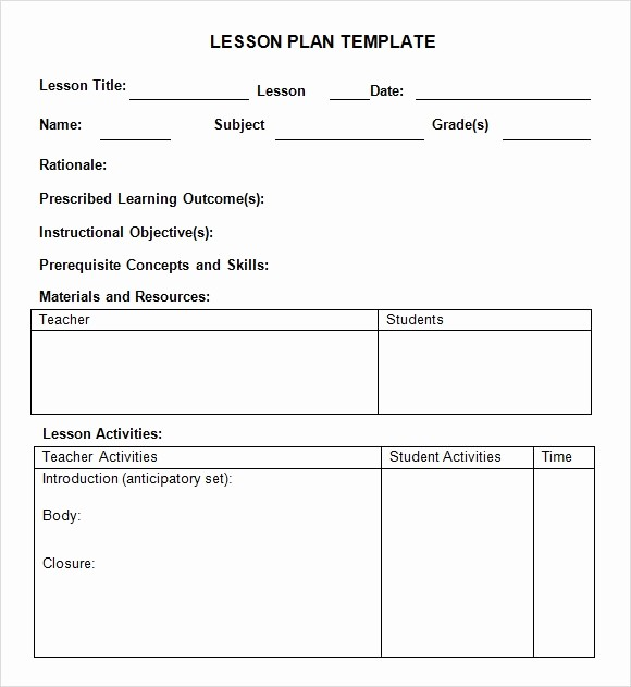 Template for A Lesson Plan Best Of 9 Sample Weekly Lesson Plans