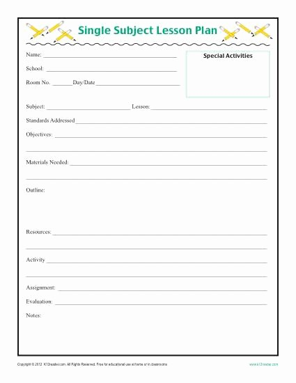 Template for A Lesson Plan Best Of Daily Single Subject Lesson Plan Template Elementary