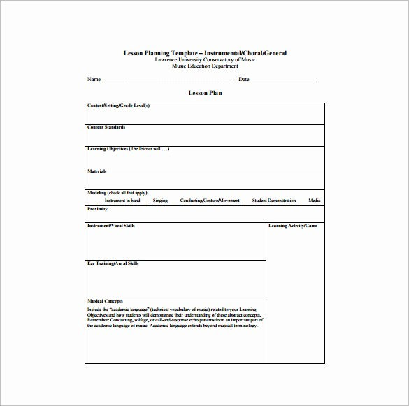 Template for A Lesson Plan Elegant Music Lesson Plan Template 6 Free Sample Example