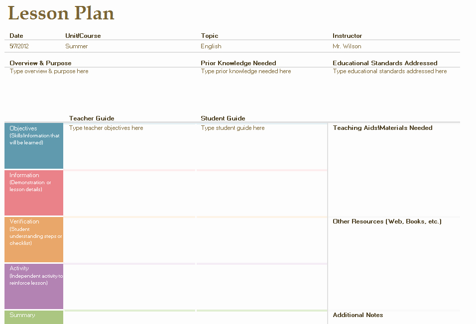 Template for A Lesson Plan Fresh Daily Lesson Plan Template Fotolip Rich Image and