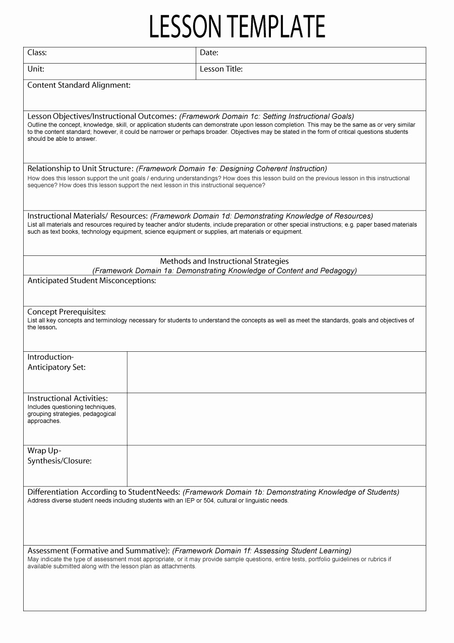 Template for A Lesson Plan Lovely 44 Free Lesson Plan Templates [ Mon Core Preschool Weekly]