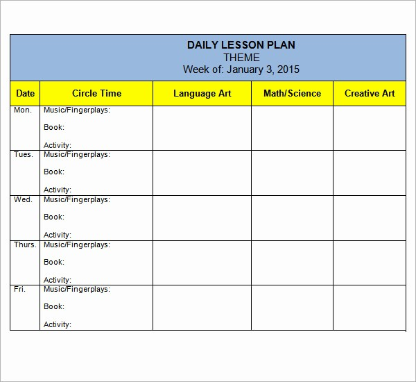 Template for A Lesson Plan Lovely Preschool Lesson Plan Template 7 Download Free