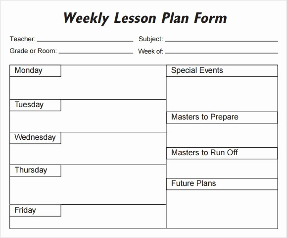 Template for A Lesson Plan Lovely Weekly Lesson Plan 8 Free Download for Word Excel Pdf