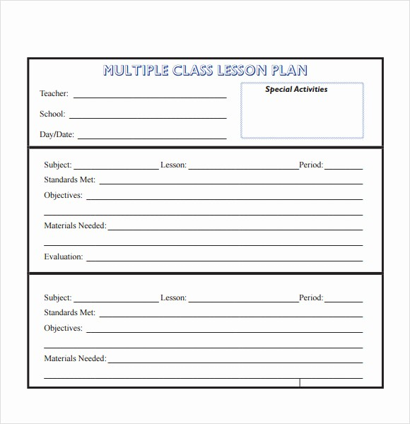Template for A Lesson Plan New 10 Sample Lesson Plans