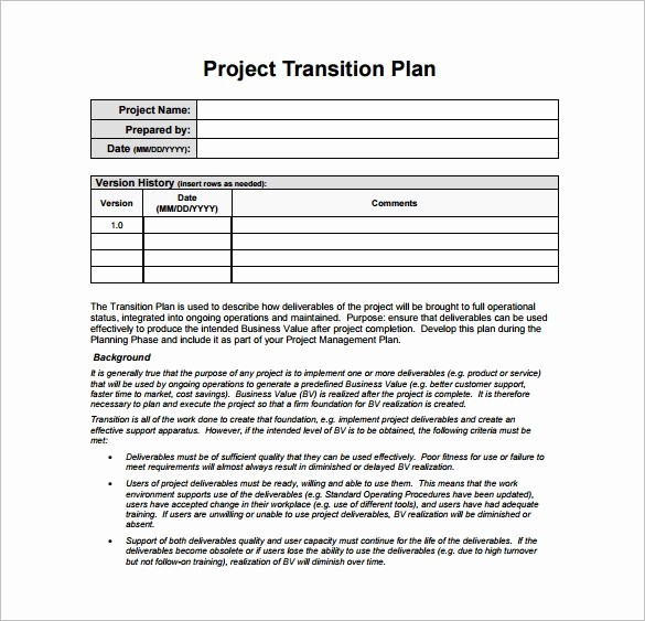 Template for A Project Plan Best Of 12 Transition Plan Template Ai Psd Google Docs Apple