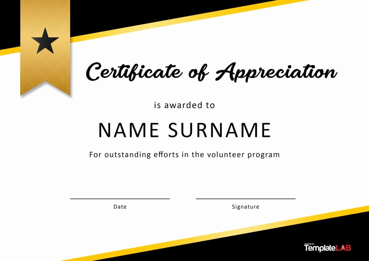 Template for Certificate Of Appreciation Awesome 30 Free Certificate Of Appreciation Templates and Letters