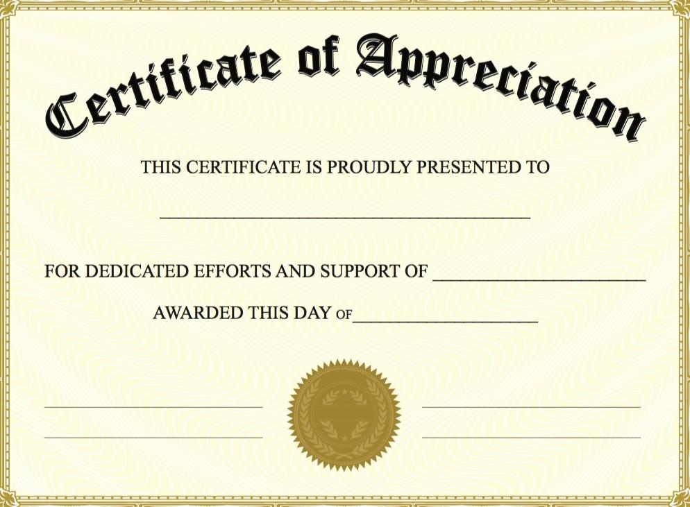Template for Certificate Of Appreciation Awesome Certificate Appreciation Template Free Printable 10