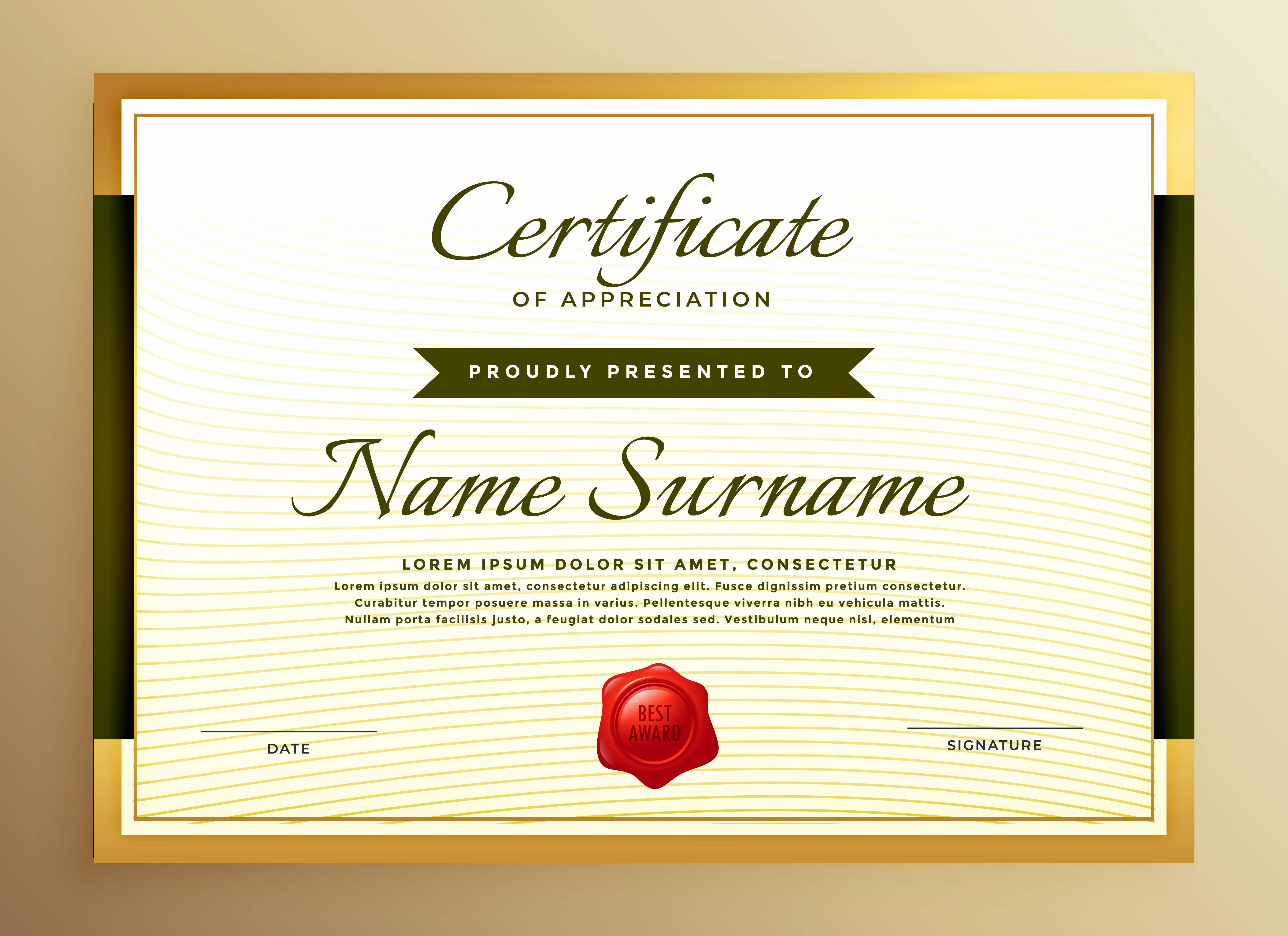 Template for Certificate Of Appreciation Awesome Premium Golden Certificate Of Appreciation Template
