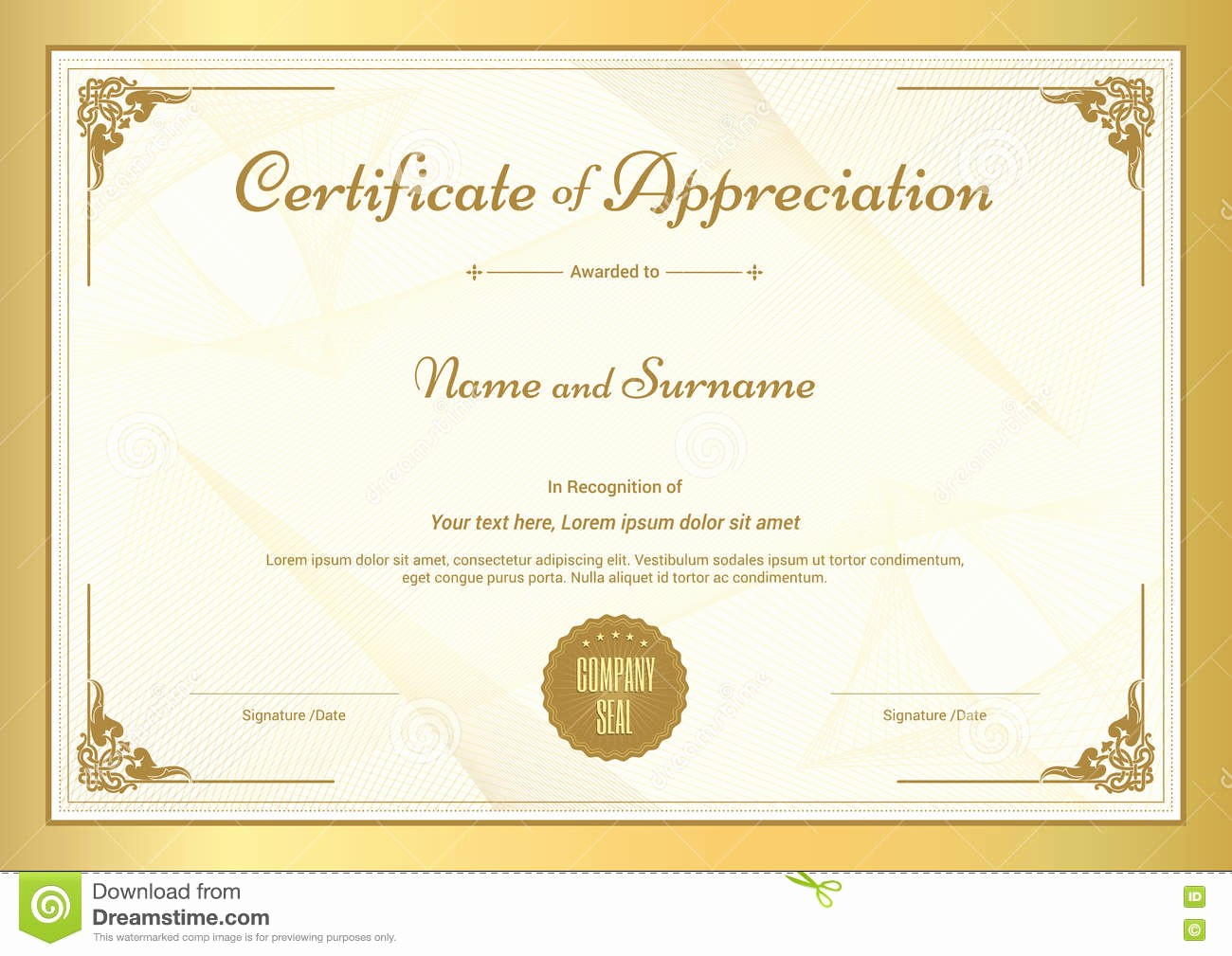 Template for Certificate Of Appreciation Best Of Certificate Appreciation Template with Gold Border