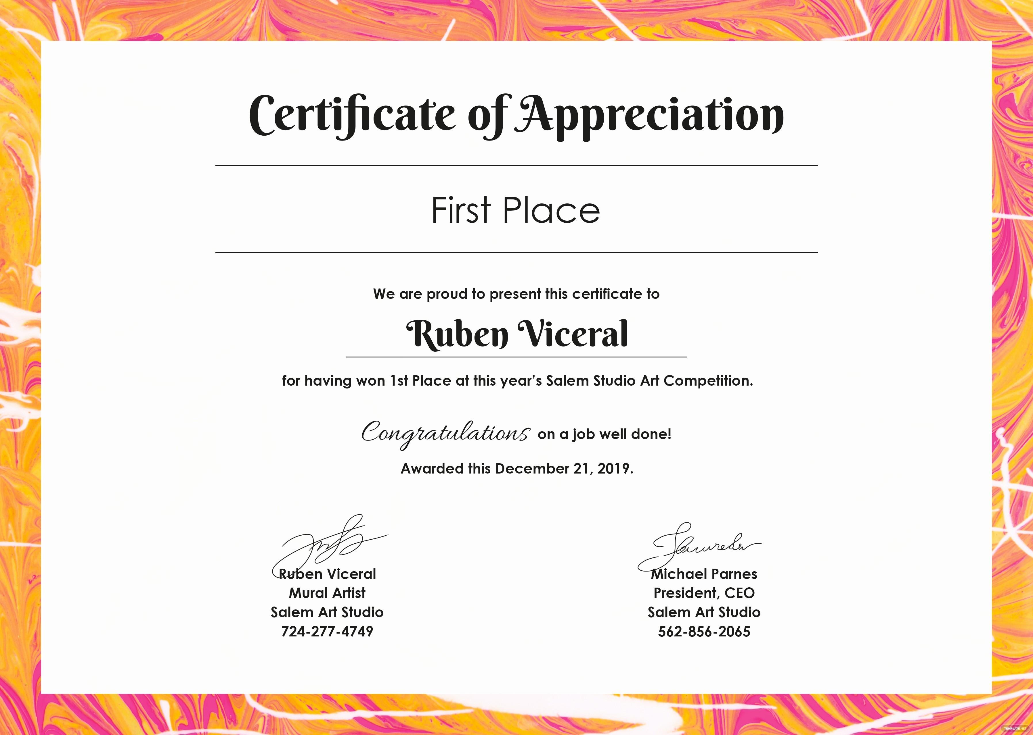 Template for Certificate Of Appreciation Best Of Free Appreciation Certificate Template In Adobe Shop