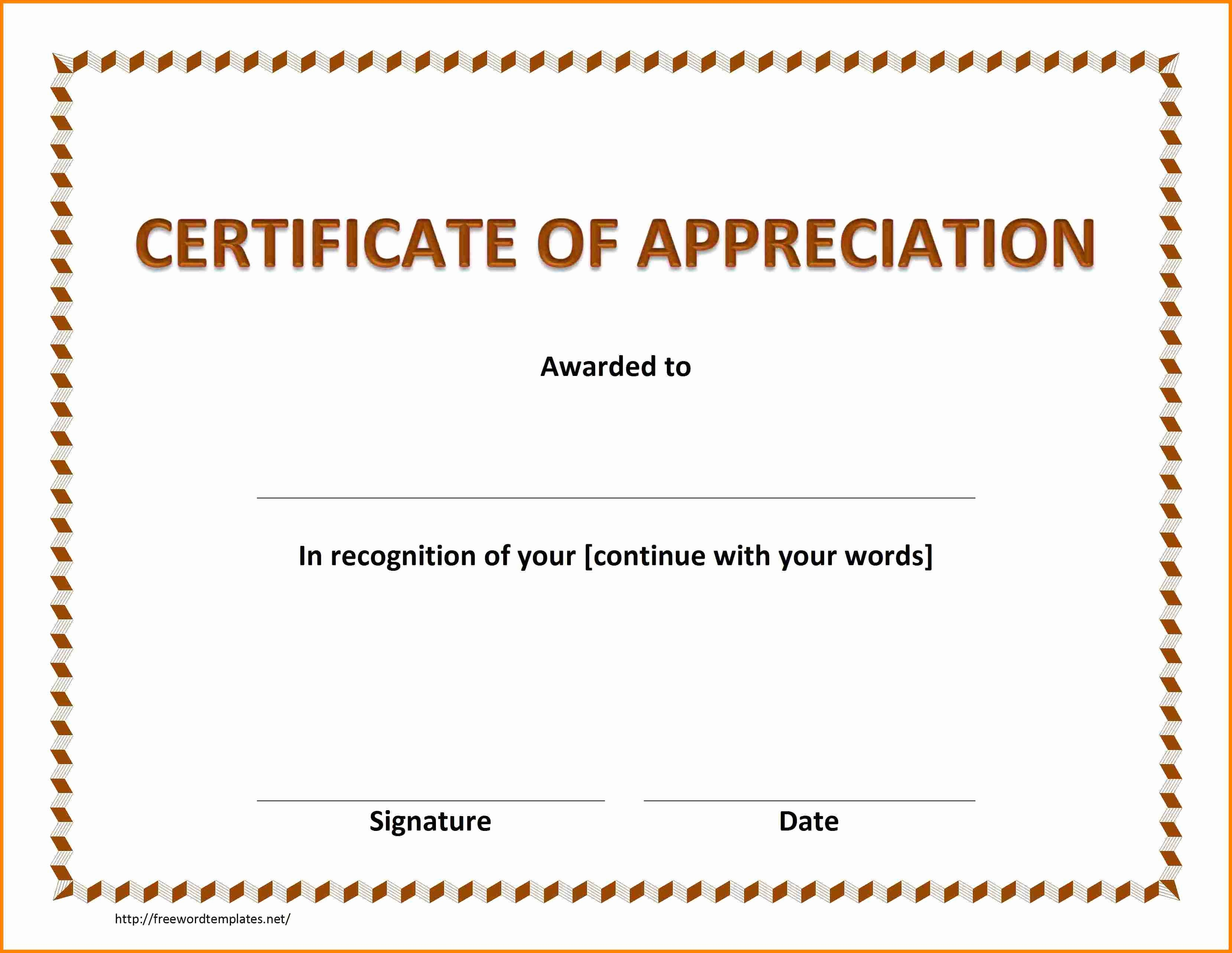 Template for Certificate Of Appreciation Fresh Army Certificate Appreciation Template