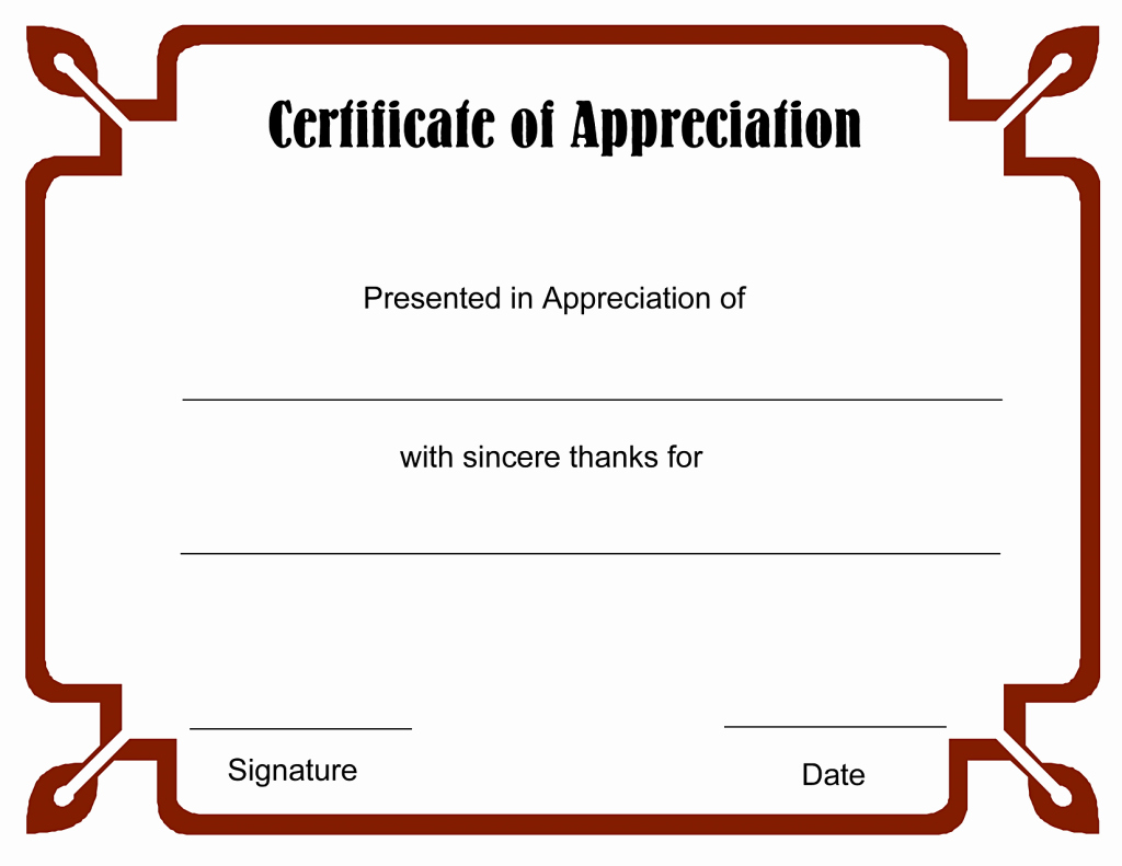 Template for Certificate Of Appreciation Inspirational Best S Free Printable Blank Certificate